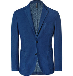 Incotex Blue Unstructuerd Slim-Fit Cotton-Blend Blazer