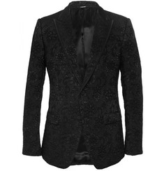 Dolce & Gabbana Black Slim-Fit Cotton-Blend Brocade Blazer