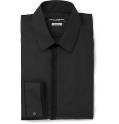 Dolce & Gabbana Black Soutache-Trimmed Cotton Shirt