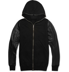 Rick Owens DRKSHDW Leather and Cotton-Jersey Hoodie