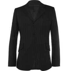 Ann Demeulemeester Black Cotton and Linen-Blend Blazer