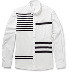 Tomorrowland Striped Knitted and Cotton-Poplin Shirt