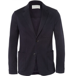 Tomorrowland Navy Slim-Fit Knitted-Cotton Blazer