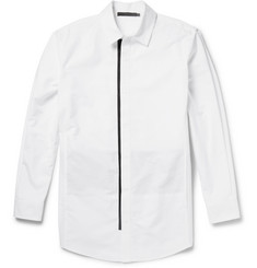Alexander Wang Panelled Cotton-Chambray and Stretch Wool-Blend Shirt
