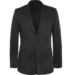 Givenchy Black Slim-Fit Rubber-Panelled Cotton Blazer