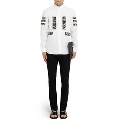 Givenchy Band-Trimmed Floral-Print Cotton Shirt