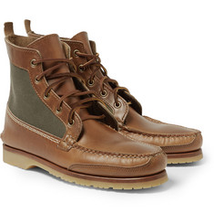 Quoddy Cotton-Panelled Leather Chukka Boots