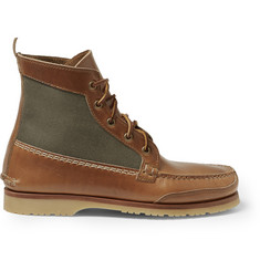 Quoddy Waxed Cotton-Panelled Leather Chukka Boots