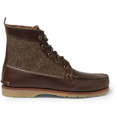 Quoddy Tweed-Panelled Leather Chukka Boots