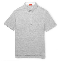 Isaia Button-Down Collar Slubbed Cotton-Jersey Polo Shirt