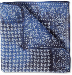 Isaia Paisley and Puppytooth-Printed Linen Pocket Square