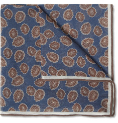 Isaia Floral-Print Cotton and Silk-Blend Pocket Square