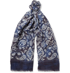 Isaia Paisley-Print Cotton and Linen Blend Scarf