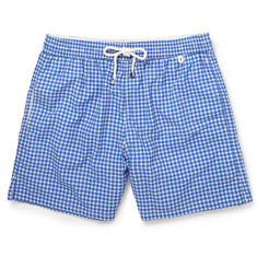 Isaia Gingham Mid-Length Swim Shorts
