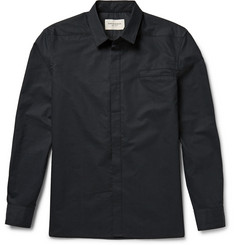 Public School Slim-Fit Mesh-Print Cotton And Silk-Blend Shirt