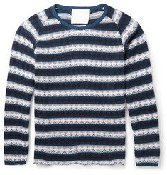 White Mountaineering Striped Textured-Knit Cotton Sweater
