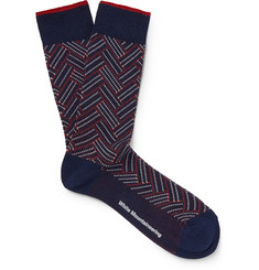 White Mountaineering Herringbone Cotton-Blend Socks