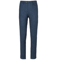 Michael Bastian Blue Slim-Fit Linen Suit Trousers