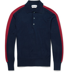 Michael Bastian Stripe-Sleeve Cotton Polo Shirt