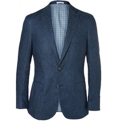 Michael Bastian Blue Slim-Fit Linen Suit Jacket