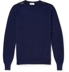 Exemplaire Leather-Panelled Cashmere Sweater
