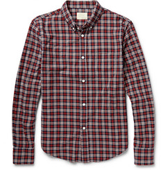 Band of Outsiders Button-Down Collar Checked Cotton Oxford Shirt