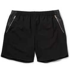 Tim Coppens Leather-Trimmed Wool-Blend Shorts