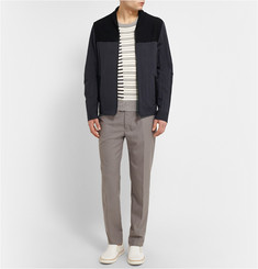 Maison Margiela Rib Knit-Panelled Cotton-Blend Bomber Jacket