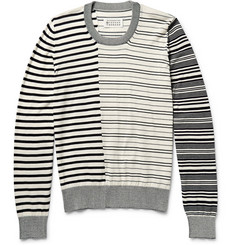 Maison Martin Margiela Leather Elbow Patch Striped Cotton Sweater