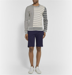 Maison Margiela Leather Elbow Patch Striped Cotton Sweater