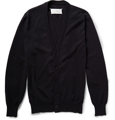 Maison Margiela Faux-Leather Trimmed Cotton Cardigan