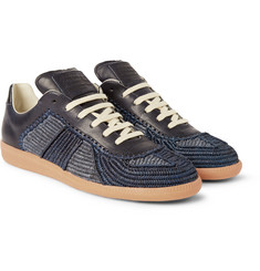 Maison Margiela Replica Woven-Raffia and Leather Sneakers