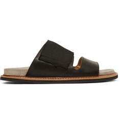 Maison Margiela Leather and Suede Two-Strap Sandals
