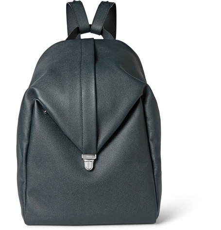 valextra male  valextra pebblegrain leather backpack petrol