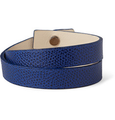 Valextra Pebbled-Leather Wrap Bracelet