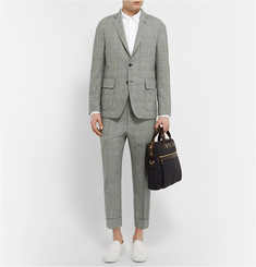 Wooster + Lardini Grey Prince of Wales Check Wool Trousers