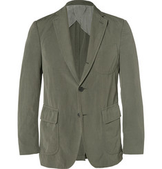 Wooster + Lardini Army-Green Cotton, Flax and Wool-Blend Blazer