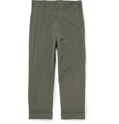 Wooster + Lardini Drop-Crotch Cotton, Flax and Wool-Blend Trousers