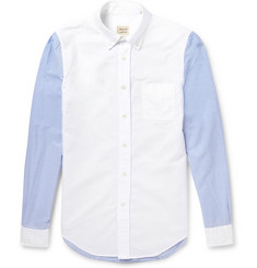 Wooster + Lardini Slim-Fit Striped-Sleeve Cotton Shirt