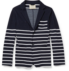 Wooster + Lardini Striped Knitted-Cotton Cardigan