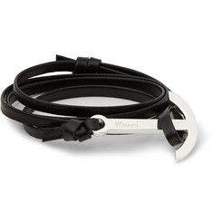 Miansai Silver-Tone Leather Anchor Wrap Bracelet