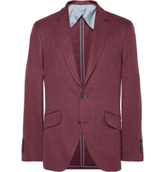 Hackett Claret Wool, Silk and Linen-Blend Blazer