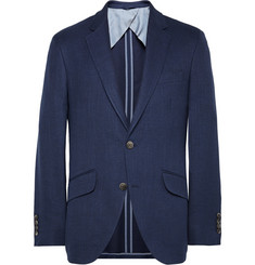 Hackett Navy Wool, Silk and Linen-Blend Hopsack Blazer
