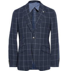 Hackett Unstructured Windowpane Check Linen Blazer