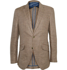 Hackett Slim-Fit Puppytooth Wool, Silk and Linen-Blend Blazer