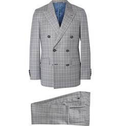 Hackett Grey Double-Breasted Prince of Wales Checked Wool Suit
