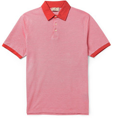 Hackett Two-Tone Birdseye-Knit Cotton Polo Shirt