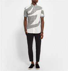 Alexander McQueen Button-Down Collar Printed Cotton Short-Sleeved Shirt