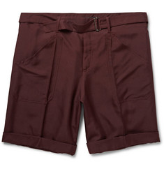 Valentino Burgundy Cotton-Canvas Shorts