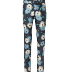 Valentino Flower-Print Silk Trousers